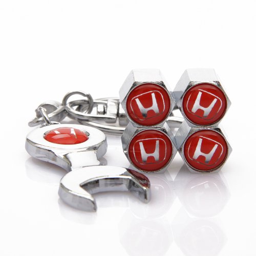 D&R Wrench Keychain Chrome Tire Valve Stem Caps for Honda Red (Red Honda compare prices)