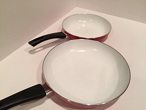 Chloris Ceramic Cookware (CCC) - Natural and Durable Non Stick Ceramic Pan frying cookware Set, 2 pieces (8 inch & 10 inch), Red