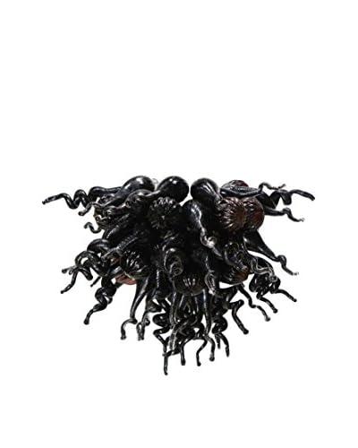 D'fine Lighting Petite Onyx LED Art Glass Chandelier, Black