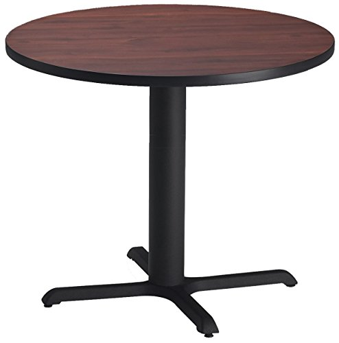 Mayline Bistro Series Round Dining Height Table with Black Base, Regal Mahogany Laminate/Black T-mold/PVC/Black Paint, 36