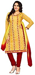 Lovely Look Yellow Embroidered Dress Material
