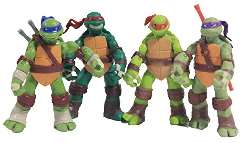 NuoYa Teenage Mutant Ninja Turtles Classic Collection 12cm Figure 4pcs Set Green, Free (Ninja Turtles Toy)