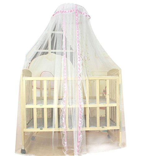 Mosquitos Net, RIUDA Baby Infant Bed Mosquito Mesh Dome Curtain Net for Toddler Crib Cot Canopy (Pink)