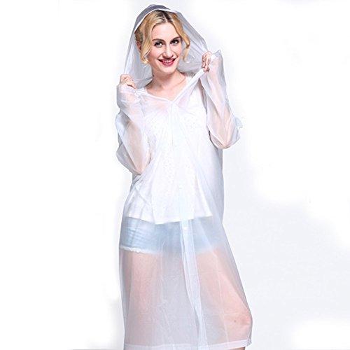 FosFun WWT-03 Moda EVA impermeabile con cappuccio per uomini e donne indumenti impermeabili impermeabile esterno del ginocchio Poncho Sopra la lunghezza cappotto di pioggia (bianco)