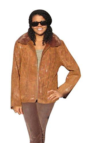 57185 New Rust Printed Lamb Leather Rex Rabbit Fur Jacket Coat Stroller L Large
