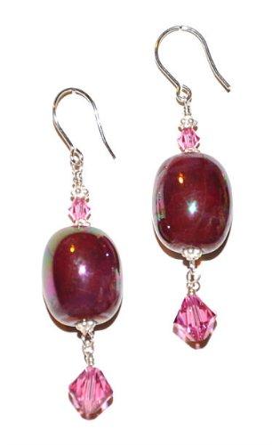 Kazuri Earrings - Deep Rose with Swarovski Dangle - Sterling Silver