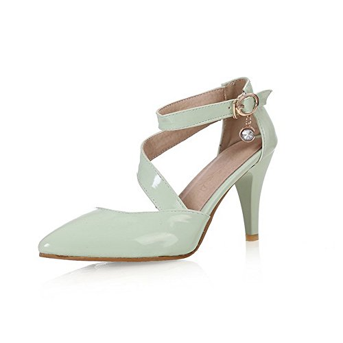 voguezone009-womens-high-heels-patent-leather-solid-buckle-pointed-closed-toe-pumps-shoes-green-38