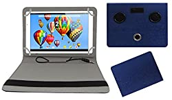 ACM PORTABLE 360 DEGREE ROTATING ROTATE MUSIC SPEAKER & LEATHER FLIP COVER FOR DIGIFLIP PRO XT911 TABLET CASE HOLDER COVER STAND - BLUE