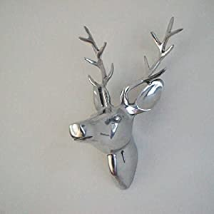 Aluminum Wall Mounted Stag's Head For Inside Or Out by Gardens2you