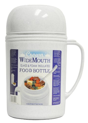Brentwood Raz05 Wide Mouth Glass Vacuum/Foam Insulated Food Thermos, 0.5-Liter front-597688