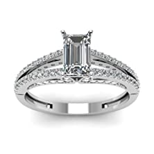 buy Split Band Pave Set 14K Gold Engagement Ring 1 Carat Emerald Cut Diamond Gia (Color-F, Clarity-Si2)