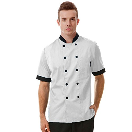 White chef uniforms unisex long and short sleeve coat catering jackets, US Size L (Tag XXXL), White with black short (Cheap Chef Coat compare prices)