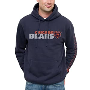 NFL Chicago Bears Horizontal Text Pullover Hoodie - Navy Blue by Junk Food