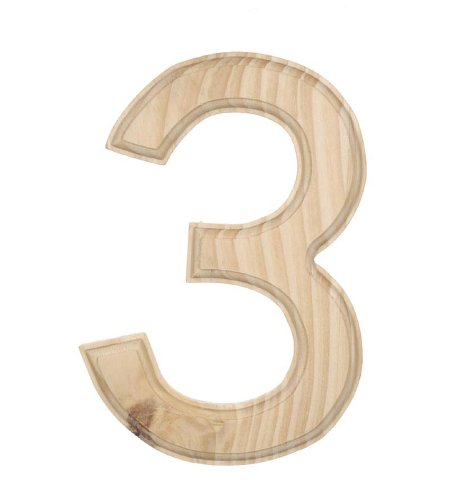 Darice 0992 3 Decorative Wood Number 3 6 Inch Home