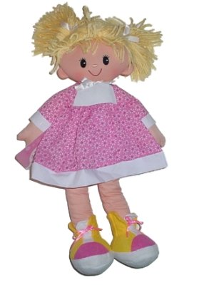 Blond Pigtail Rag Doll In Pink And White Dress 19 Inches Tall