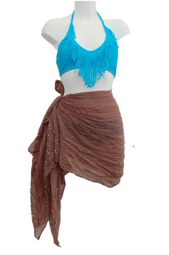Tamari Light Brown Studded Sarong Beach Cover Up For Women One Size