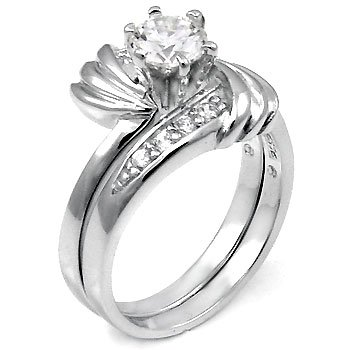 Sterling Silver Cubic Zirconia CZ Wedding Engagement Ring Set Sz 5