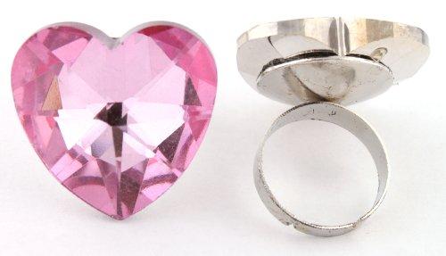 Ladies Pink Heart Shape Metal Adjustable Finger Ring