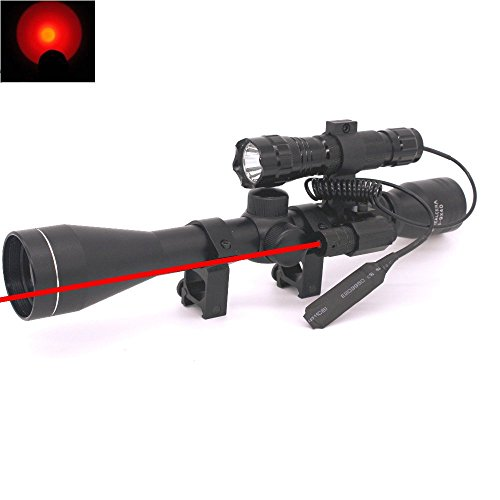 Lukher 3 in 1 Outdoor Hunting Adjustable Optics ZoomTactical 3-9x40mm Illuminated Rifle Scope with Red Laser and Red Flashlight (Savage Model 99 Scope Mounts compare prices)