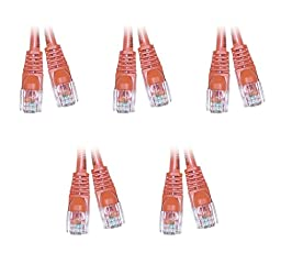 C&E Cat5e 7-Foot Snagless/Molded Boot Ethernet Crossover Cable, Orange, Pack of 5 (CNE54565)