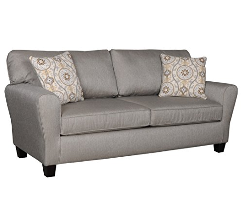 Living Room Sofa Couch w/ Two Accent Pillows - Upholstered Fabric|Contemporary Casual Design|Three Person Seat by ExceptionalSheets, Base Dove