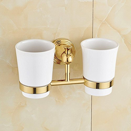 SSBY Continental gold copper double Cup holders, couple mug racks, bathroom toothbrush glass, ceramics and glass , ceramic cup