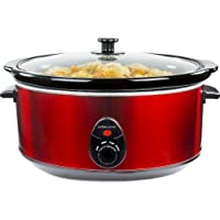 Andrew James 6.5 Litre Premium Red Slow Cooker with Tempered Glass Lid, Removable Ceramic Inner Bowl and Three Temperature Settings, Includes 2 Year Warranty
