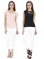 Lilium Combo Pack Of Siyaah Black Color Gretchen Lace Yoke Top With Tulip Layered Blouse In Candy Pink Color