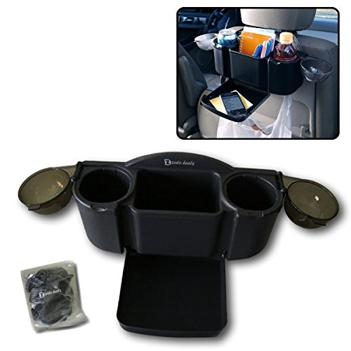 Zento Deals Car Seat Organizer with Fold-Out Tray and 2 Drink Holders