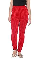 COLORS & BLENDS - Red Woolen-Lycra Leggings for Women