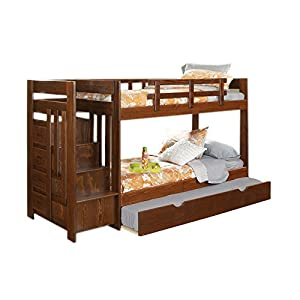 Twin Over Twin Reversible Stair Bunk Bed With