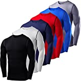 Mens Kids PowerLayer Compression Base Layer / Baselayer Top Long Sleeve Under Shirt - Crew Neck - Large - Red