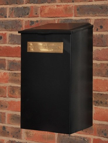 Newspaper / Parcel / Post Box - Black with Embossed Brass Sign - 3 Sizes Available (Medium)