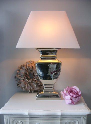 Tischleuchte-Tischlampe-Tisch-Lampe-Leuchte-silber-Schirm-wei-offwhite-60-cm-Shabby-Chic-Landhaus