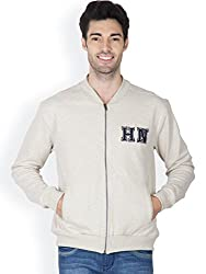 Hypernation Ecru Melange Color Casual Full Zipper Sweatshirts For Men