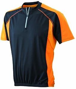 James & Nicholson Herren Bike T-shirt, black/orange, S, JN420 blor