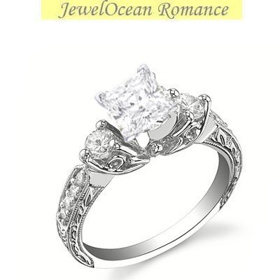 0.58 Carat Antique Inexpensive Engagement ring with Princess cut Diamond on 18K White gold