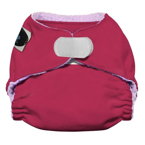 Imagine Baby Products Newborn Rayon From Bamboo All-In-One Hook and Loop Cloth Diaper, Raspberry