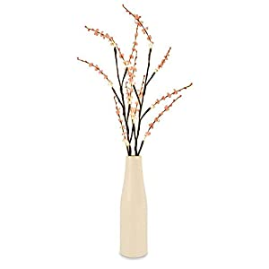 Modern Battery Operated LED Fairy Lights Ceramic Vase Floor Lamp With Adjustable Branches, Beautiful Pink Flowers And Decorative Red Beads by MiniSun