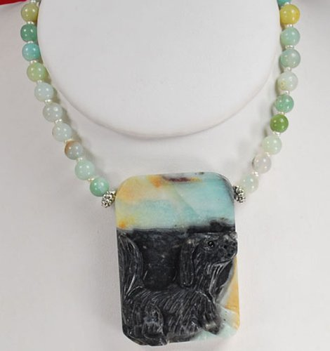 Natural Amazonite, Pearl & Carved Dog Pendant Silver Necklace N2_0620_03