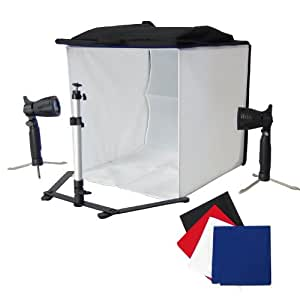 DynaSun PB5L 40cm Professional Cube Light Tent Softbox with Tripod, 4 Backdrop and 2 Halogen Lights and Holder - White/Black/Red/Blue