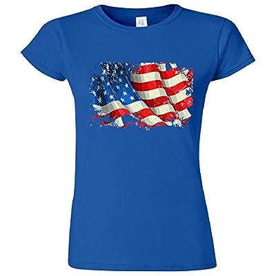 USA Distressed Waving American Flag Women's Junior T-Shirt