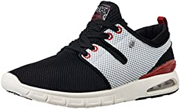British Knights Mens Tempo Black and Light Grey and Red Mesh Sneakers