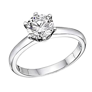 IGI Certified 14k white-gold Round Cut Diamond Engagement Ring (0.50 cttw, F Color, SI1 Clarity) - size 9