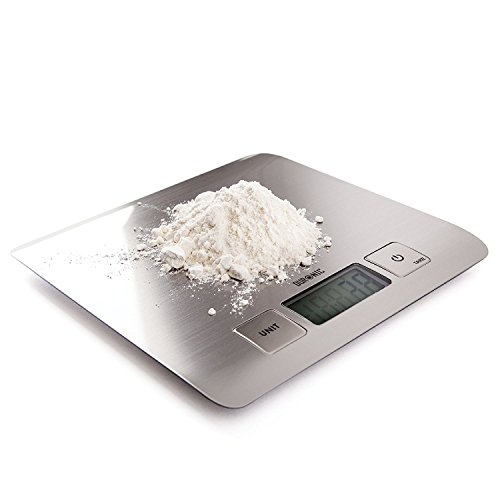 Duronic KS1009 Super Slim Sleek Design Digital Display 5KG Electronic Kitchen Scales - with Glossy Brushed Chrome Stainless Steel Surface and 2 Years FREE Warranty