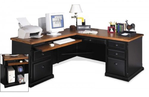 Buy Low Price Comfortable Southampton Desk with Right Computer Return (Onyx Black) (68″W X 30″H X 32″D) (B003K3WSVS)