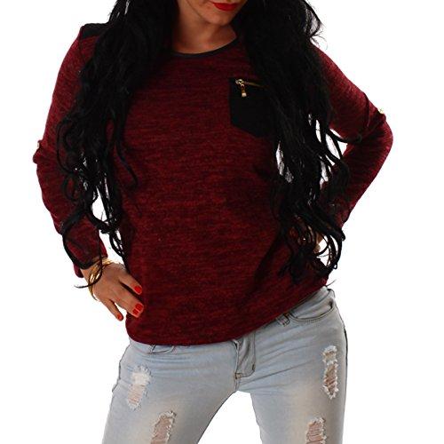 SeXy Pullover Pullunder Damen Pulli Top Oberteil Strick Gr XS 34 S 36 M 38 Neu (Einheitsgröße XS/S/M, Rot/Red)
