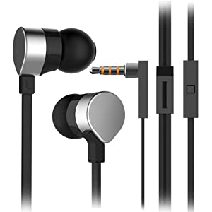 Sounder® High Quality Ultra lightweight In Ear Earphones Headphones with mic microphone and remote for use with Iphone, Samsung galaxy, Ipad, android, Ipod (Silver + Black)