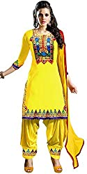 Subhash Sarees Daily Wear Yellow Color Georgette Dress unstitched dress material