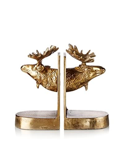 Go Home Moose Bookends, Gold/Silver/Brown